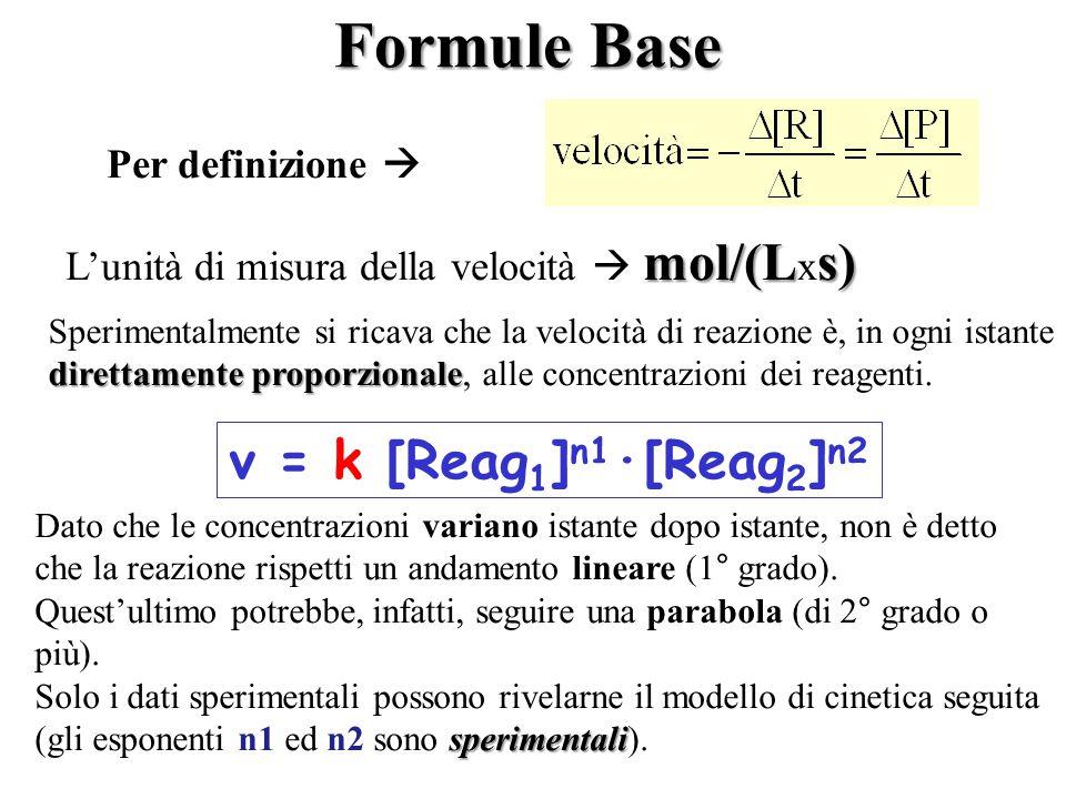 Formule Base v = k [Reag1]n1·[Reag2]n2 Per definizione 